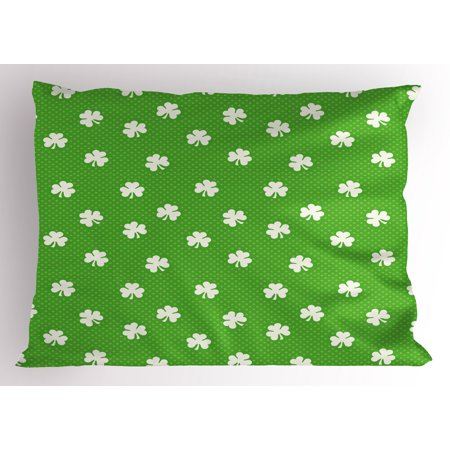 - Irish Pillow Sham Old Fashioned Polka Dots Backdrop with Cultural Flowers Clovers Retro Classic, Decorative Standard Size Printed Pillowcase, 26 X 20 Inches, Lime Green White, by Ambesonne