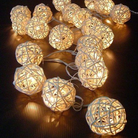 20 LED Color Rattan Ball String Fairy Lights For Xmas Wedding Party Hot BG ()