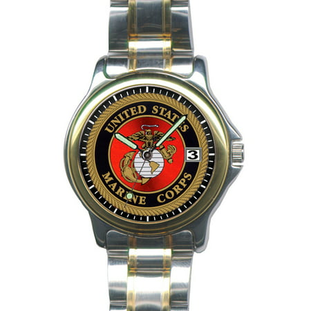 Marine Corps Dress - Aqua Force Marine Corps Insignia Stainless Steel Dress Watch (30M water resistant)