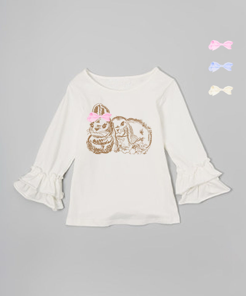 Cream Ruffle Bunny Graphic Interchangeable Bow Top
