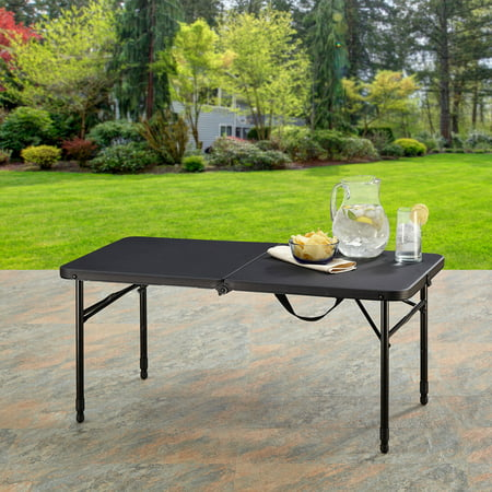 "Mainstays 40"" Fold-in-Half Plastic Folding Table, Rich Black"