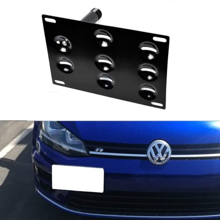 Bumper Bracket Kit - iJDMTOY Euro Style Front Bumper Tow Hole Adapter License Plate Mounting Bracket For 2015-up Volkswagen MK7 GTi Golf