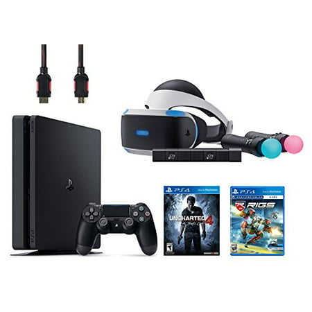 PlayStation VR Start Bundle 5 Items:VR Headset,Move Controller,PlayStation Camera Motion Sensor,PlayStation 4 Slim 500GB Console - Uncharted 4,VR Game Disc RIGS Mechanized Combat