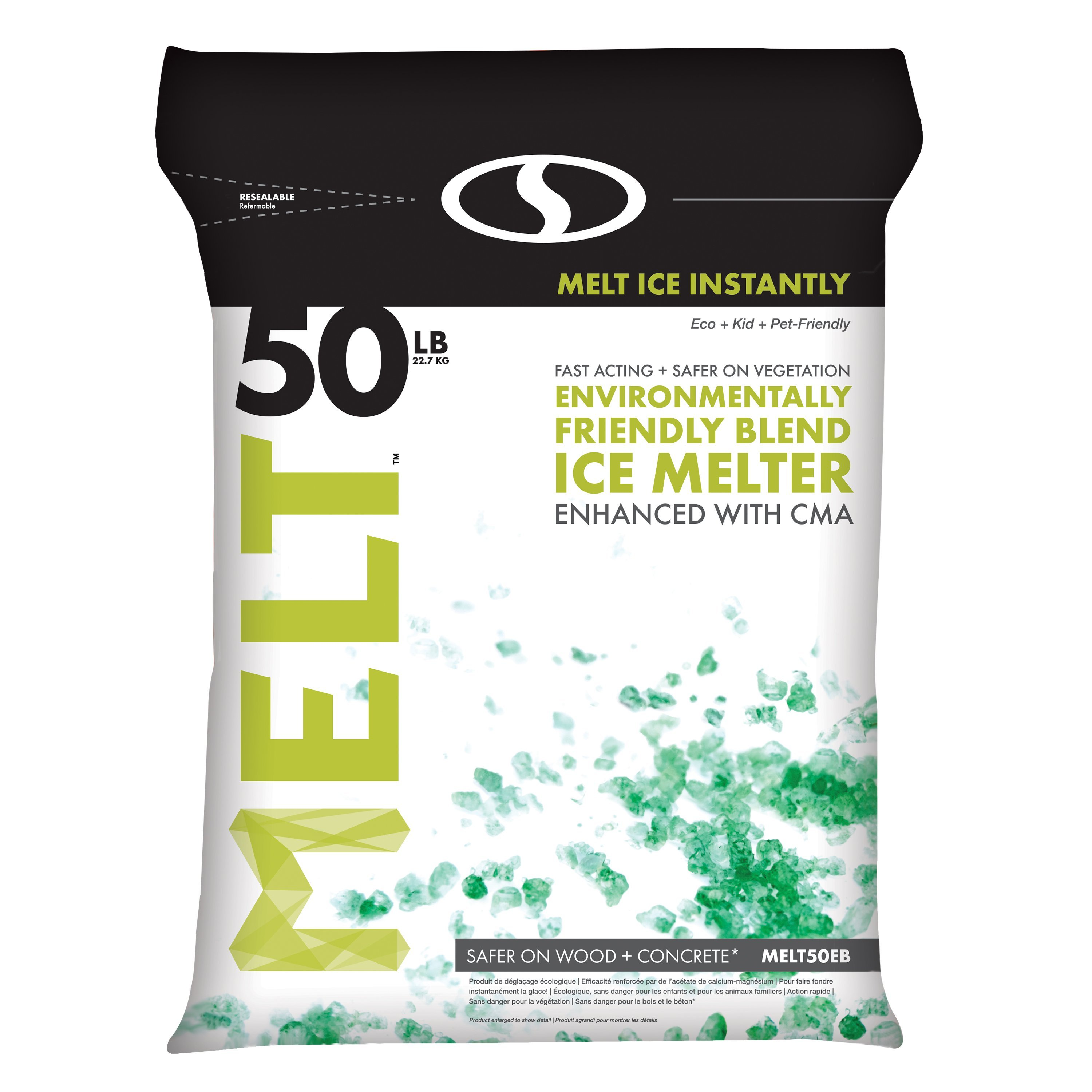 Snow Joe MELT Premium Environmentally-Friendly Blend Ice Melter w/ CMA, 50 lb. Resealable Bag