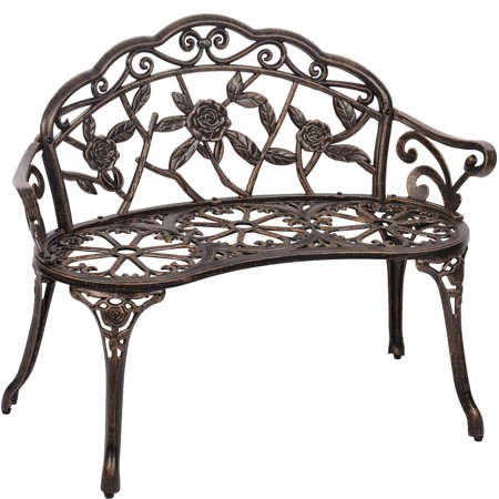 Patio Garden Bench Bronze Park Yard Furniture Cast Aluminum Rose Antique ()