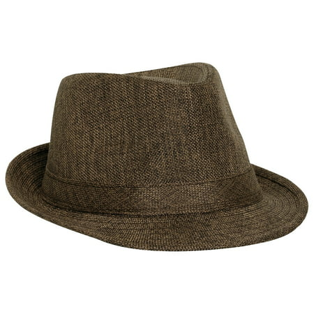 Adult Imitation Linen Fedora Hat, Heather Brown - Flat Top Fedoras