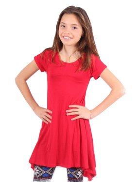 386954a1c9e Product Image Lori&Jane Girls Red Solid Color Short Sleeved Trendy Tunic Top.  Lori & Jane