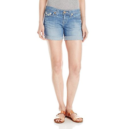Rise Cuffed Short - Big Star Women's Remy Low Rise Roll Cuff Short with Embroidered Back Pocket, Sirenas, 25