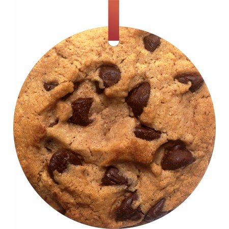 Chocolate Chip Cookie Flat Round - Shaped Christmas Holiday Hanging Tree Ornament Disc Made in the U.S.A. ()