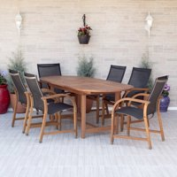Amazonia Bahamas 7-Piece Extendable Oval Patio Dining Set | Eucalyptus Wood | Ideal for Outdoors and Indoors