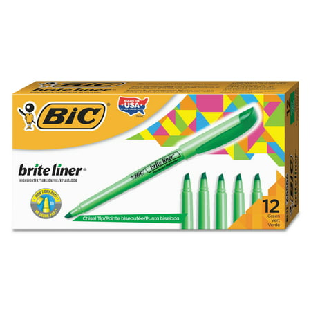 BIC Brite Liner Highlighter, Chisel Tip, Fluorescent Green, Dozen