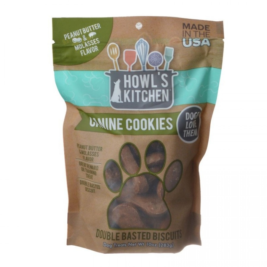 60 oz (6 x 10 oz) Howls Kitchen Canine Cookies - Peanut Butter & Molasses