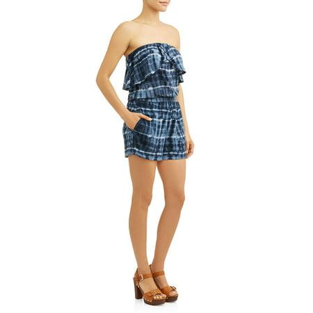Sleeveless Ruffle Top Tie-Dye Romper Women