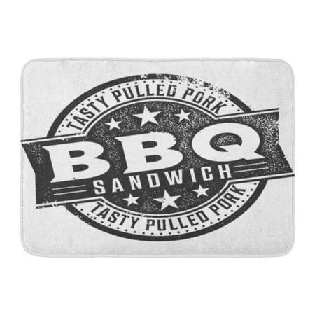 LADDKE Plate BBQ Pulled Pork Sandwich Vintage Stamp Sauce Label Badge Doormat Floor Rug Bath Mat 23.6x15.7