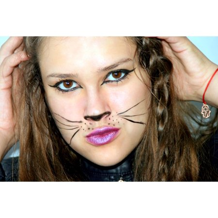 Halloween Decorations To Make And Print (Laminated Poster Portrait Makeup Halloween Girl Cat Poster Print 11 x)