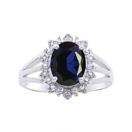 Princess Diana Inspired Halo Diamond & Sapphire Ring Set In Sterling Silver (Princess Diana Sapphire)