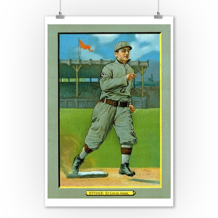 St. Louis Browns - George Stone - Baseball Card (9x12 Art Print, Wall Decor Travel Poster)