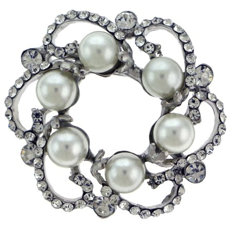 Circle Shaped Silver-Tone Brooch Pin With White Bead And Rhinestone Accents TMP206 Tone Circle Pin