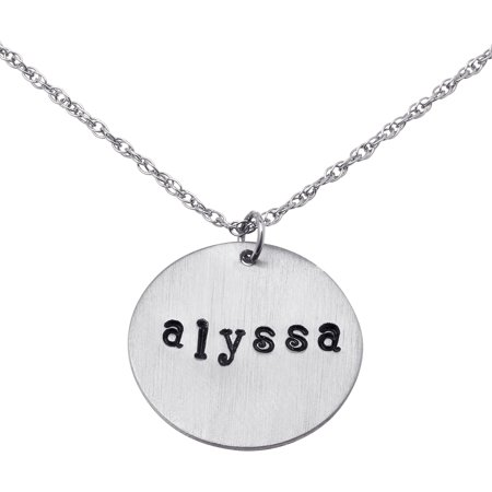 Hand Stamped Name Pendant (Personalized Women's Sterling Silver Hand Stamped Name Disc)