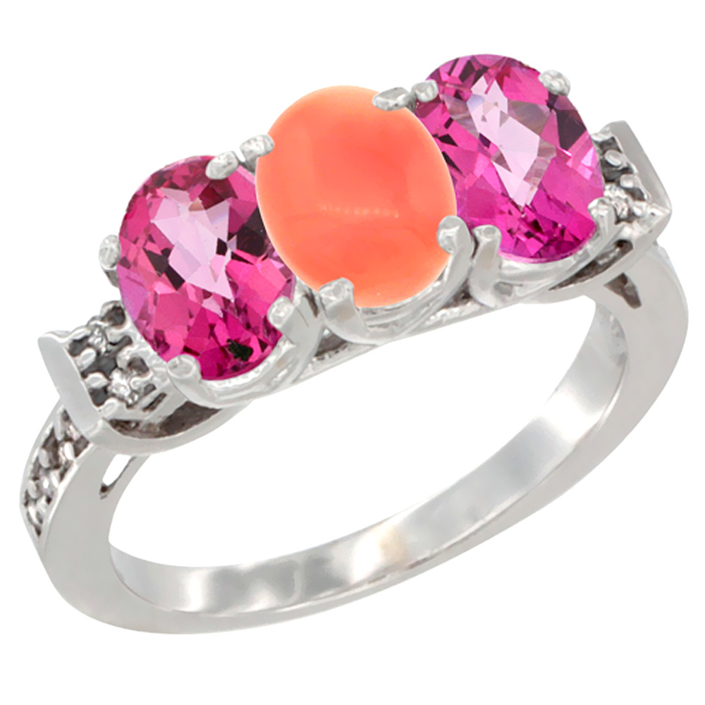 14K White Gold Natural Coral & Pink Topaz Sides Ring 3-Stone Oval 7x5 mm Diamond Accent, sizes 5 10 by WorldJewels