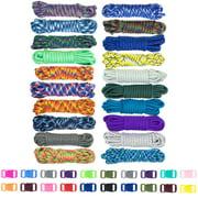 Zesty 550lb Survival Paracord Random Combo Crafting Kit by West Coast Paracord - 20 Colors of 500lb Cord & 20 FREE buckles - Type III Paracord - Make 20 Paracord bracelets-Great Gift