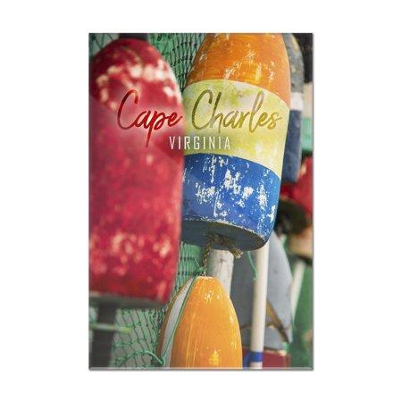Cape Charles, Virginia - Colorful Buoys - Lantern Press Photography (8x12 Acrylic Wall Sign) ()