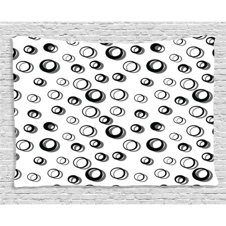 Geometric Circle Decor Tapestry, Abstract Various Round Pattern Reflections Decorations Minimalist, Wall Hanging for Bedroom Living Room Dorm Decor, 60W X 40L Inches, Black White, by Ambesonne
