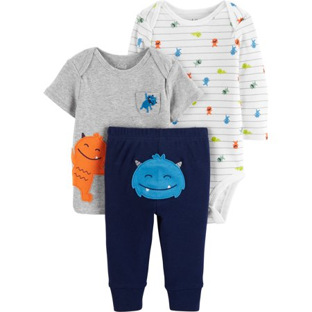 Long Sleeve Bodysuit, T-Shirt & Pants, 3-Piece Outfit Set (Baby Boys)