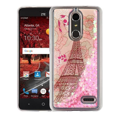 Insten Luxury Quicksand Glitter Liquid Floating Sparkle Bling Fashion Phone Case Cover for ZTE Blade Spark - Eiffel Tower