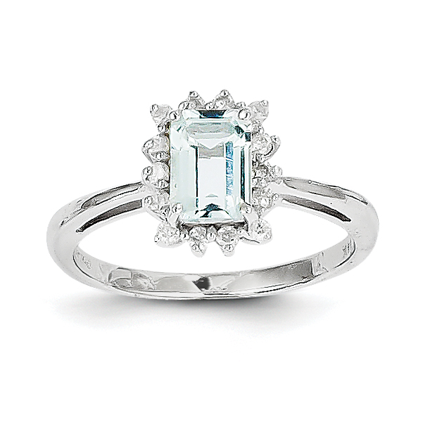 14k White Gold Aquamarine and Diamond Ring by Saris and Things QG