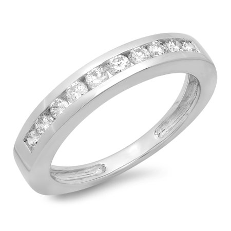 IGI CERTIFIED 0.50 Carat (ctw) 14K White Gold Round Cut Diamond Ladies Stackable Anniversary Wedding Band 1/2 CT