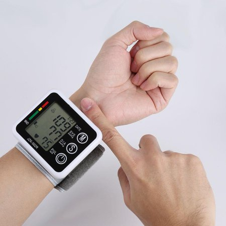 WALFRONT Digital Wrist-type Blood Pressure Pulse Monitor Healthy Care Automatic LCD Cuff Tonometer, Digital Tonometer, Wrist Blood Pressure Monitor](Wrist Cuffs)