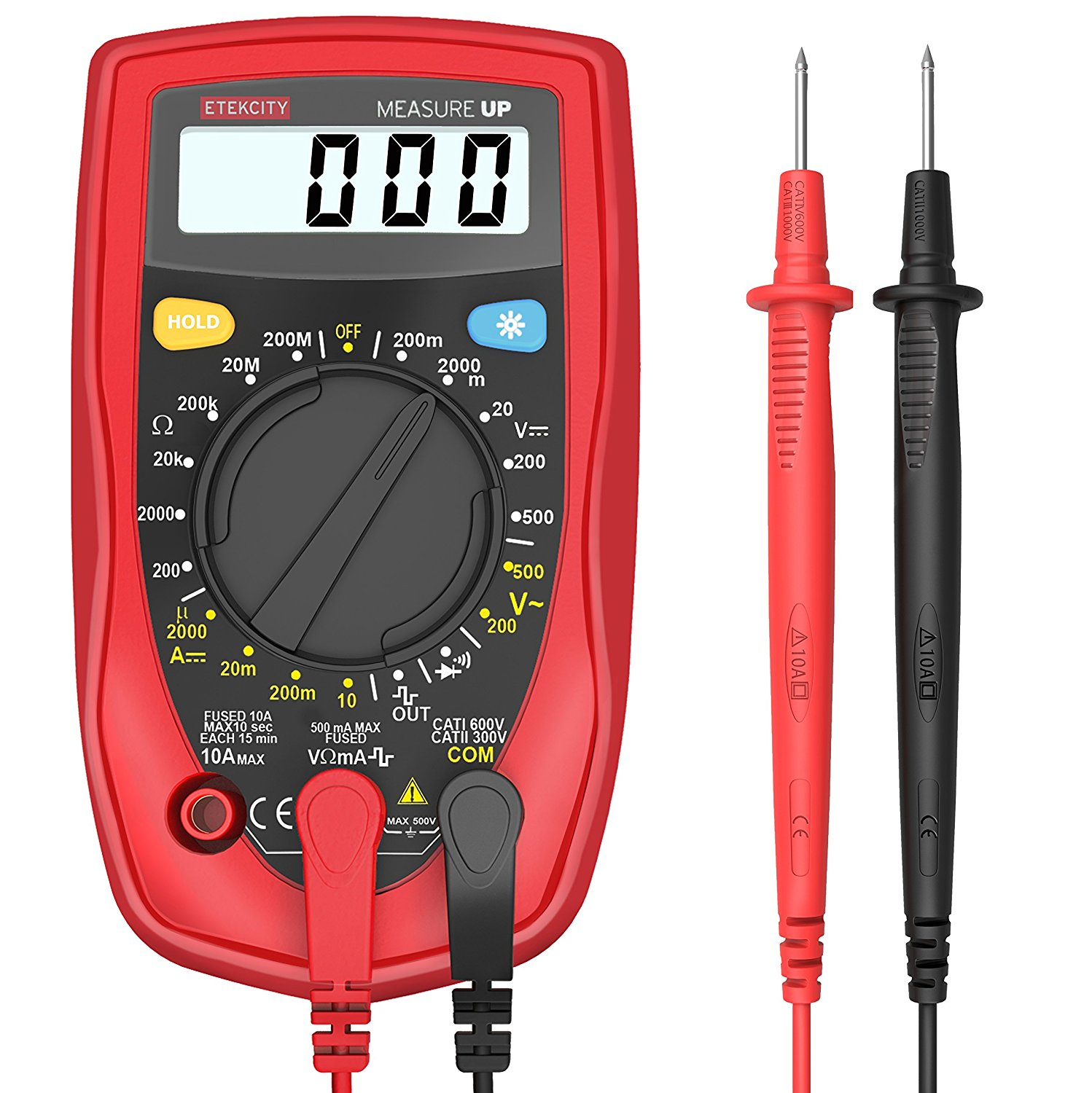 Etekcity MSR-R500 Digital Multimeters , Electronic Amp Volt Ohm Voltage Meter Multimeter with Diode and Continuity Test Tester, Backlight LCD Display (Red)