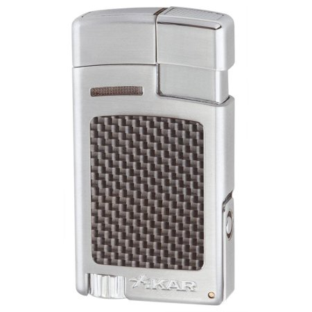 Xikar Forte Jet Flame Lighter - Silver Carbon Fiber