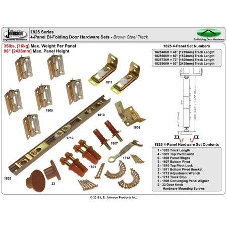 Johnson Hardware 1825 Tap-In Bifold Hardware - 60