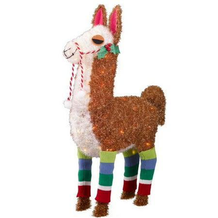 Wondershop Lit Holiday Tinsel Llama 70 Lights, 32u0022 Tall