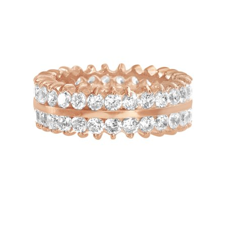Lesa Michele Women's White Cubic Zirconia 2 Row Eternity Band Ring in Rose Gold Plated Sterling Silver