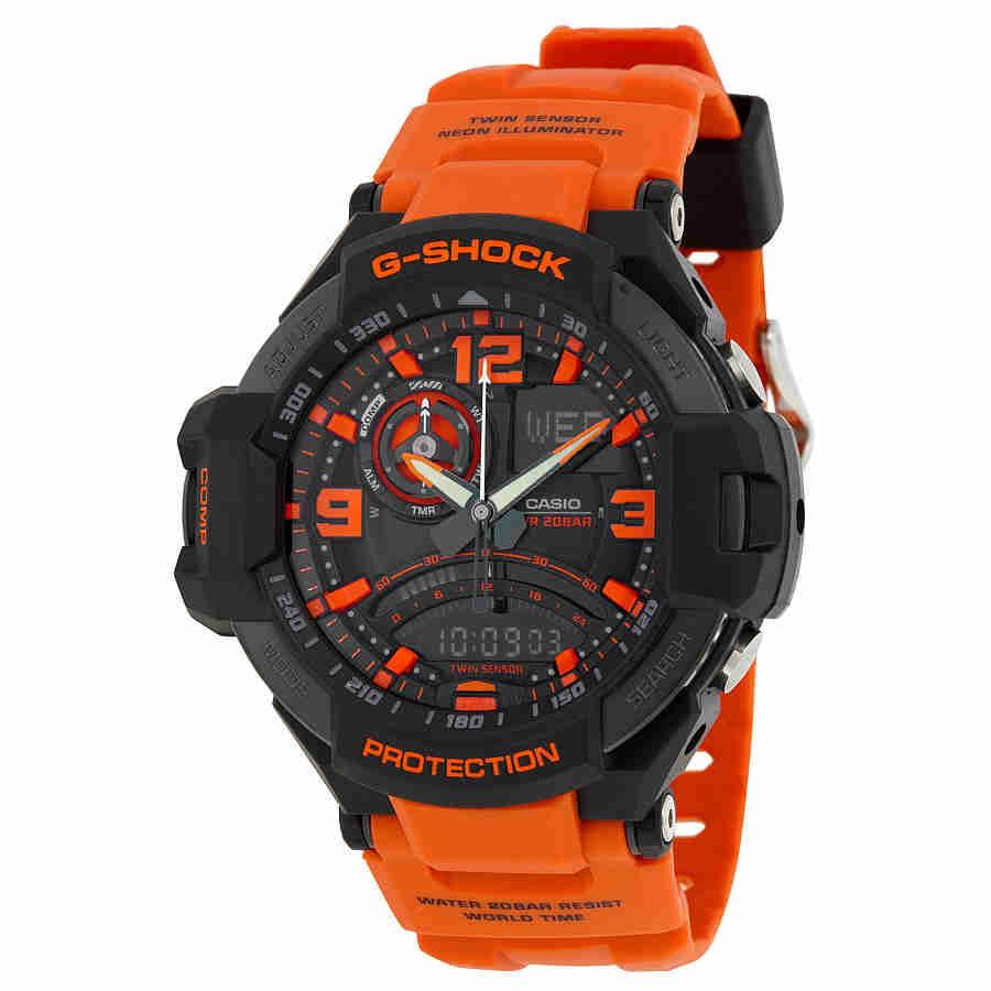 Casio G-Shock Aviation Perpetual Calender Orange Resin St...