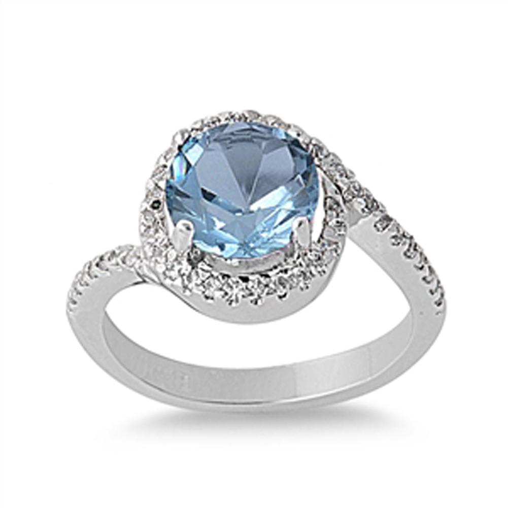 Simulated Aquamarine Polished Halo Elegant Ring ( Sizes 5 6 7 8 9 10 ) New 925 Sterling Silver Band Rings (Size 6)