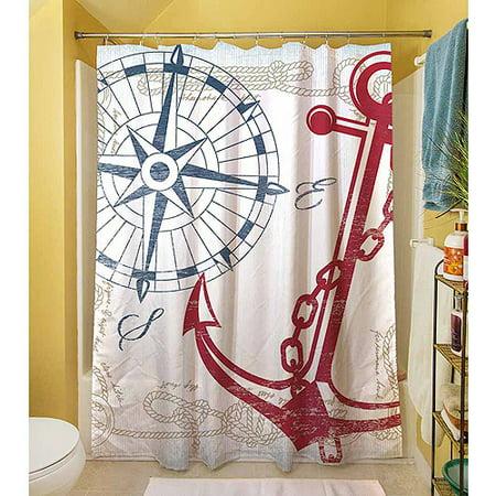 Thumbprintz Anchors Away White Shower Curtain, 71