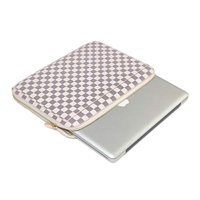 Daisy Rose Checkered Protective Laptop Sleeve case For 13-Inch MacBook pro with slip pocket - Luxury PU Vegan Leather (Cream)