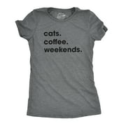 Womens Cats Coffee Weekend T Shirt Cat Mom Tee Addicted to Caffeine Top Womens Graphic Tees
