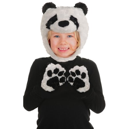 Toddler Black/White Panda Animal Pack Hood & Mitts Halloween Costume Accessories](Panda Express Halloween Deals)