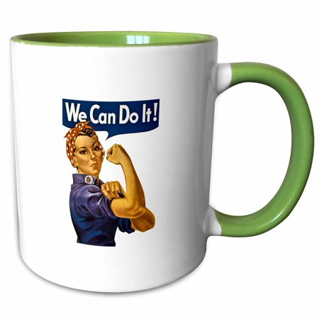 Hunter Green Mug (3dRose Vintage Rosie the Riveter WWII American Feminist Icon We Can Do It - Two Tone Green Mug, 11-ounce)