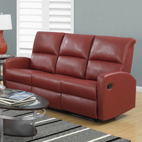 Monarch Leather Reclining Sofa in Red