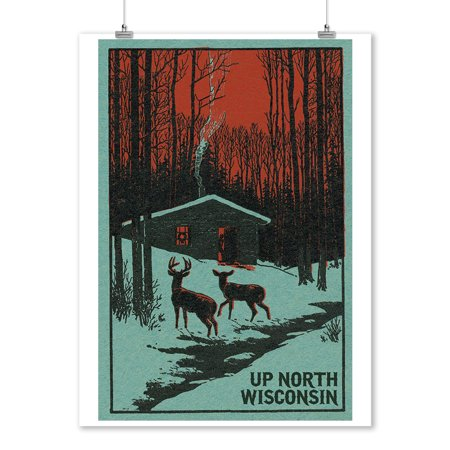 Up North, Wisconsin - Deer & Cabin in Winter - Woodblock - Lantern Press Artwork (9x12 Art Print, Wall Decor Travel Poster)