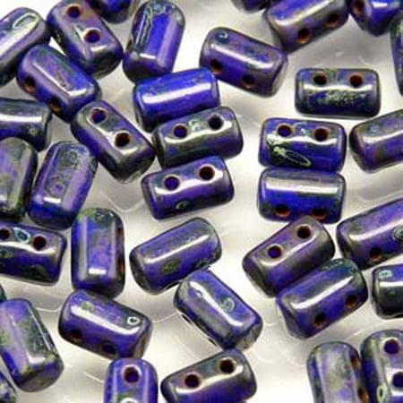 Rulla OPAQUE BLUE TRAVERTINE DARK Czech Glass Seed, Loose Beads, 3x5mm 20 Gram Tube (2 Hole) Dark Blue Czech Seed