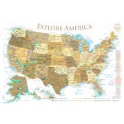 USA National Parks Map Poster - Gold 24x16 inches