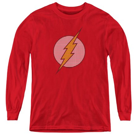 Dc Flash - Flash Little Logos - Youth Long Sleeve Shirt - Small