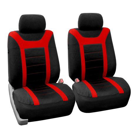 FH Group Red and Black Sports Front Bucket Seats Covers (Set of 2)